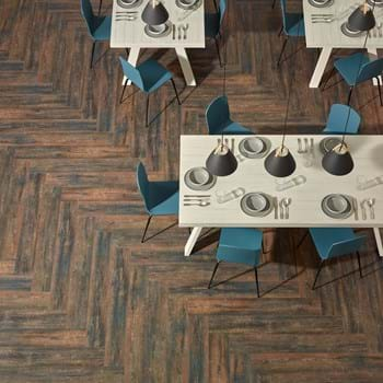 Amtico Spacia Scorched Timber SS5W3024 in Herringbone plank laying pattern