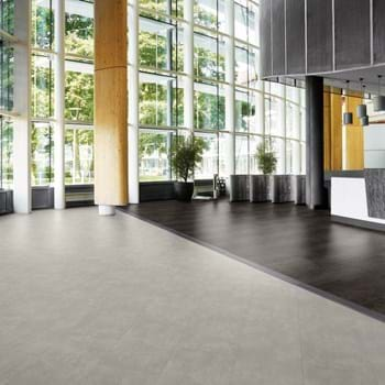 Amtico Spacia LVT in Metropolis Ice (SS5A2617) with Steel (SS5A2804) and Mirus Indigo (SSA6140)